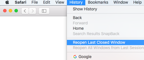 Restore Recently Closed Tabs in Safari
